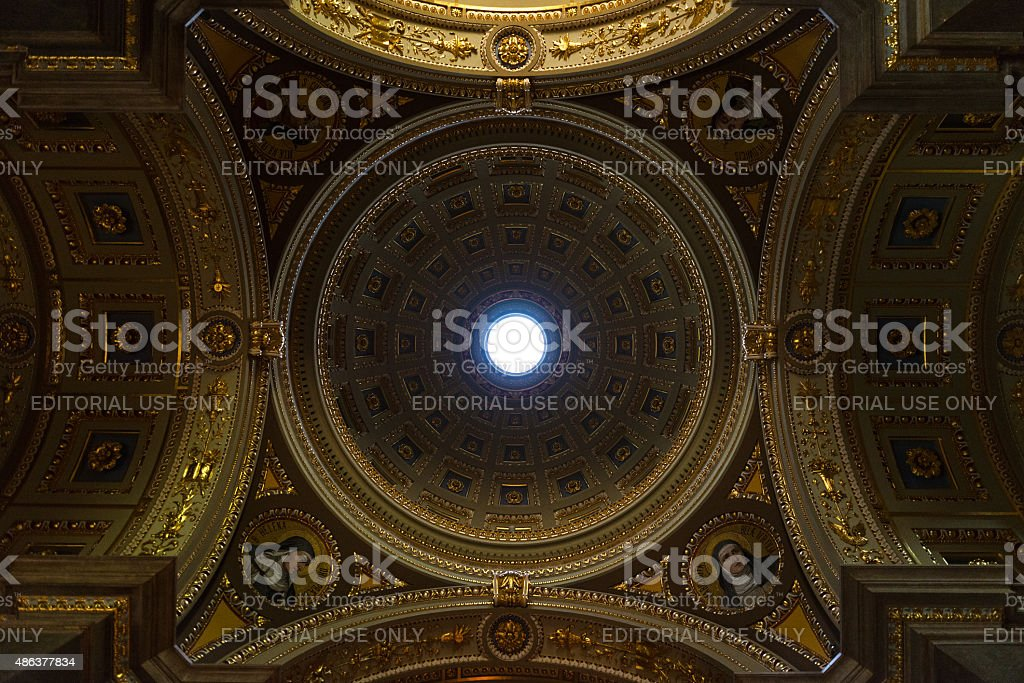 Inside view of St. Stephen Basilica in Budapest stock photo