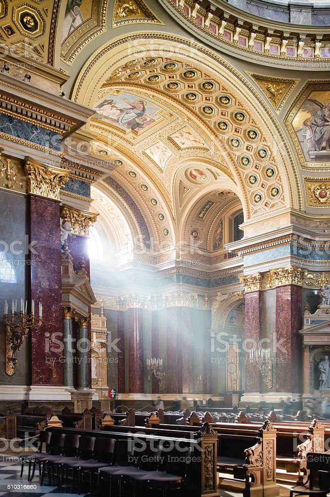 Inside view of St. Stephen's Basilica in Budapest stock photo