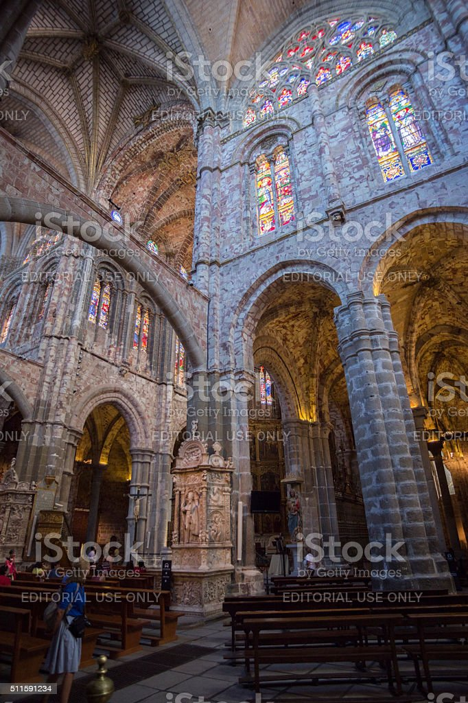 Inside view of the Cathedral in Avila stock photo