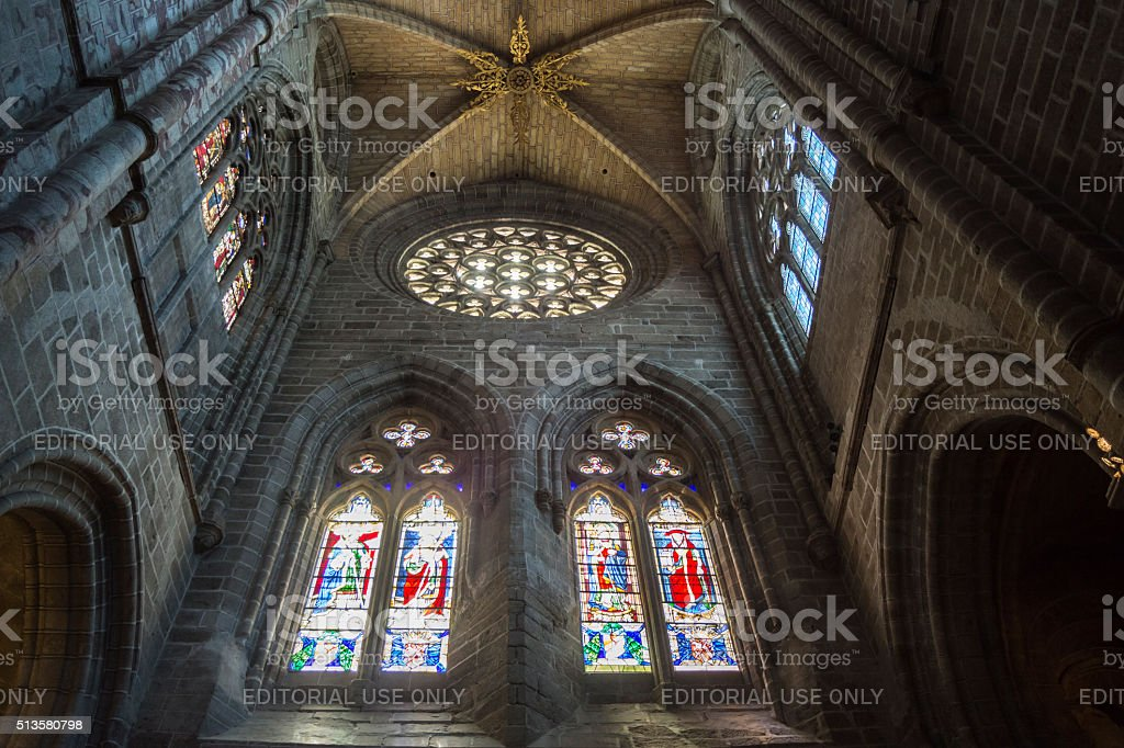 Inside view of the Cathedral in Avila, Spain stock photo