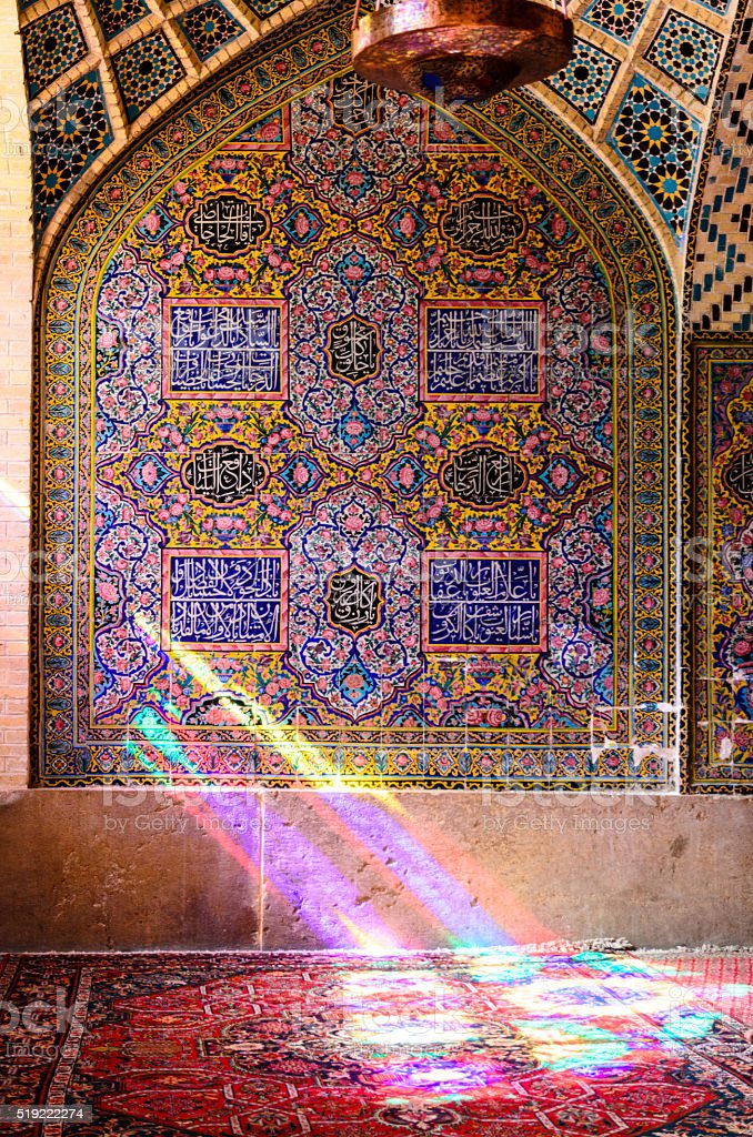 Inside wall of mosque, Shiraz, Iran stock photo