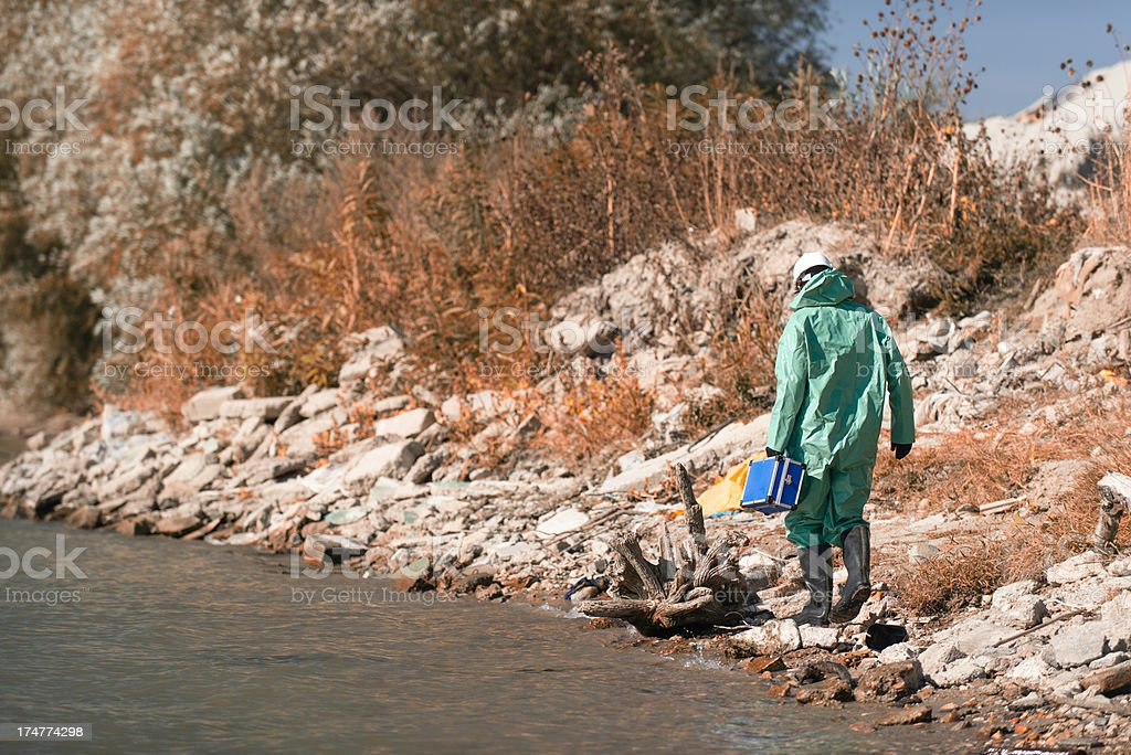 Inspecting environment after disaster stock photo