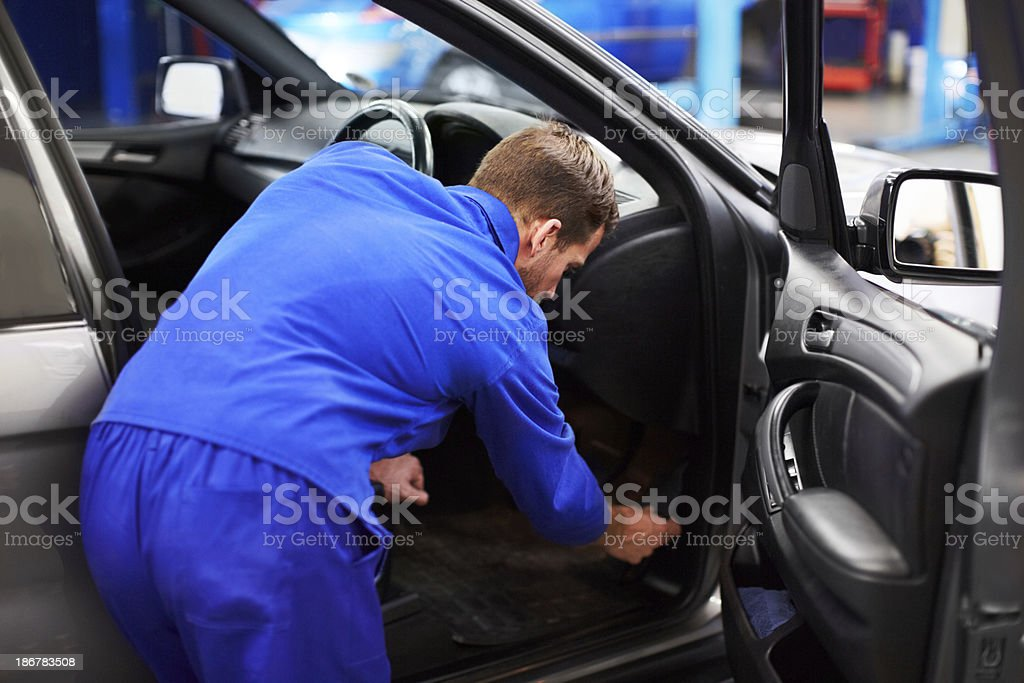 Inspecting the interior royalty-free stock photo
