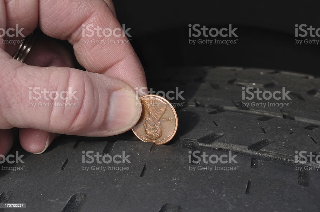 Inspecting Tire Tread Using a Penny stock photo
