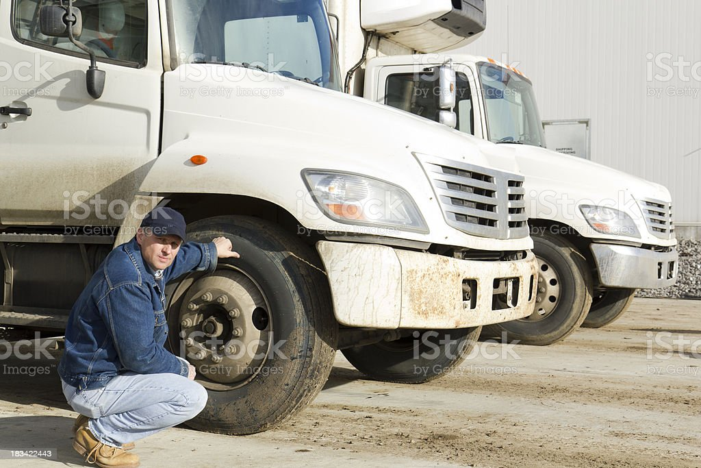 Inspecting Tires royalty-free stock photo