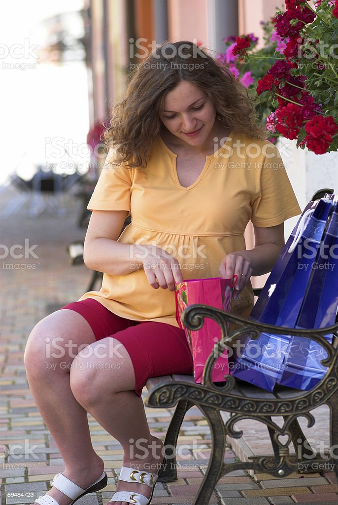 Inspecting todays purchases stock photo