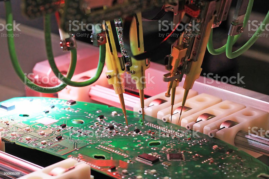 inspection of printed circuit boards stock photo