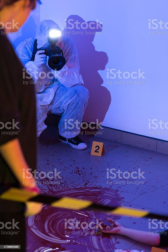 Inspection of the crime scene stock photo