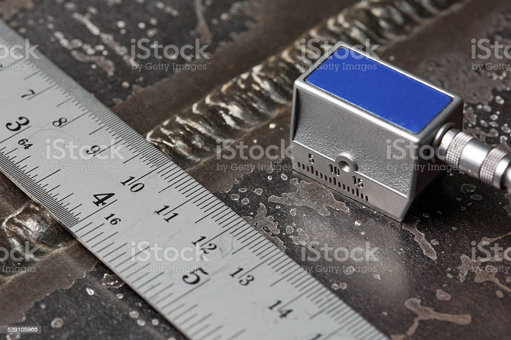 inspection welment by ultrasonic stock photo
