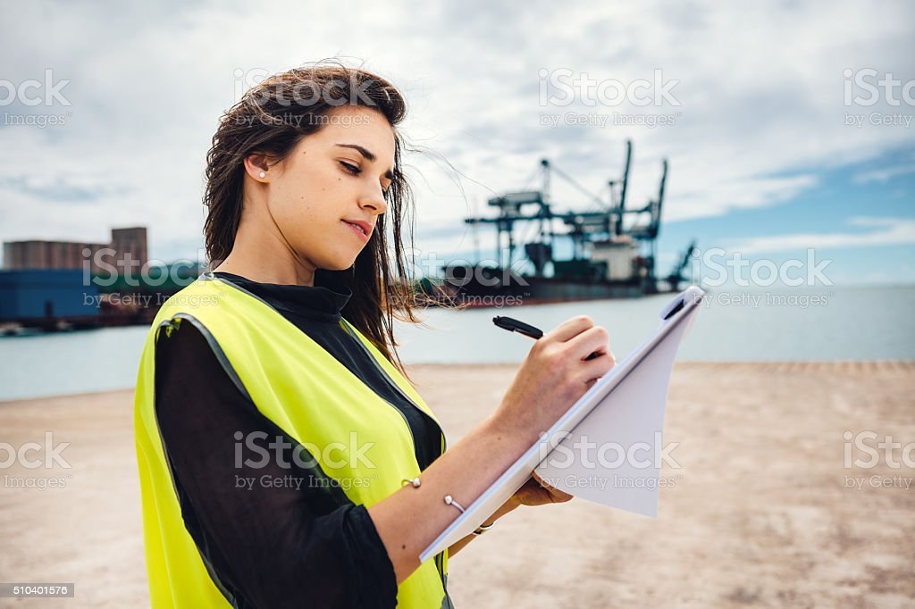 Inspector At Commercial Dock stock photo
