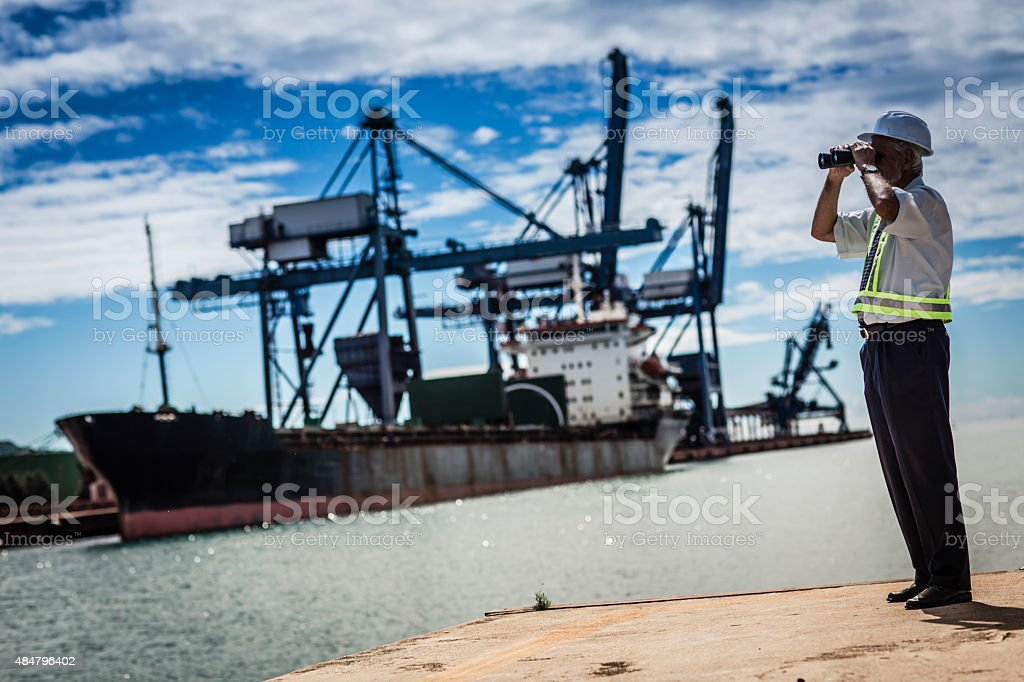 inspector at commercial transport dock stock photo