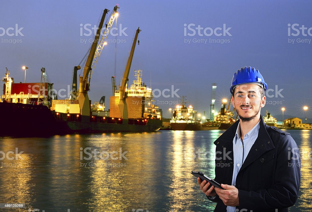 Inspector in the Harbor stock photo