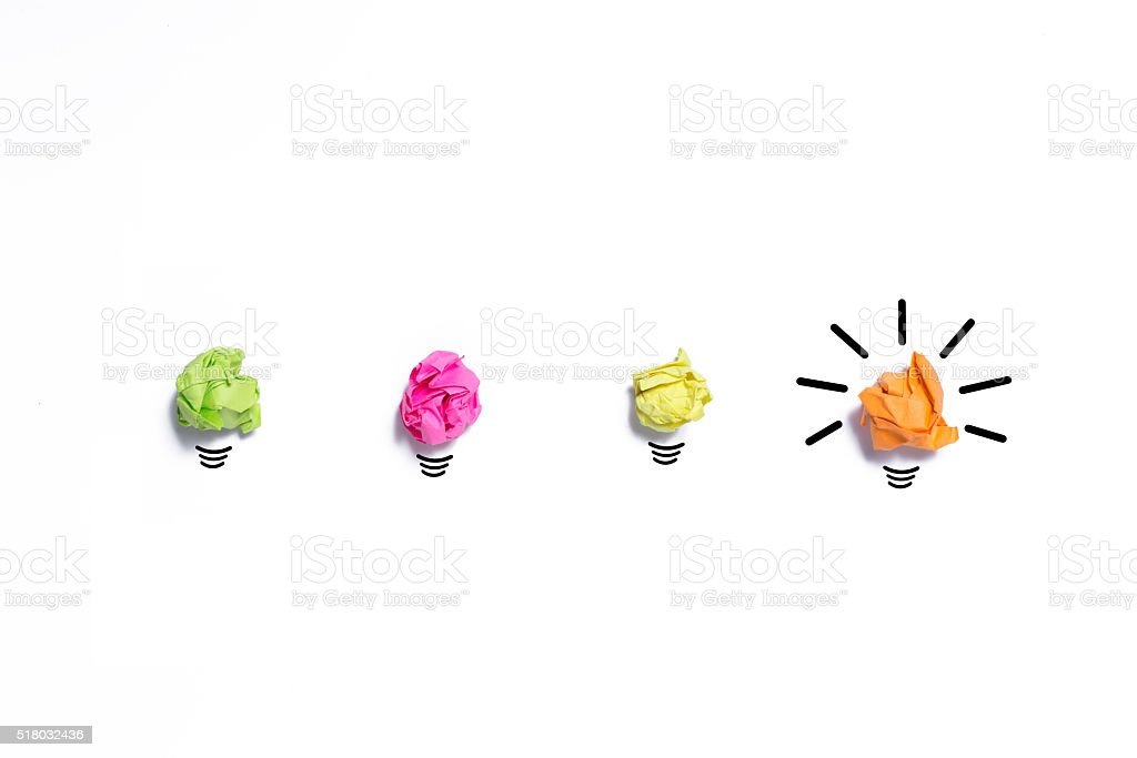 Inspiration concept crumpled paper light bulb metaphor for good stock photo