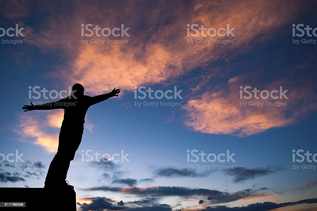 inspiration man silhouette sky stock photo