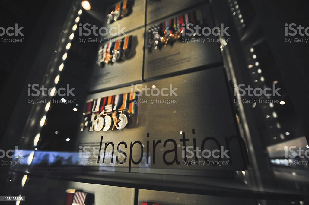 Inspiration text and artifact medals of honour stock photo