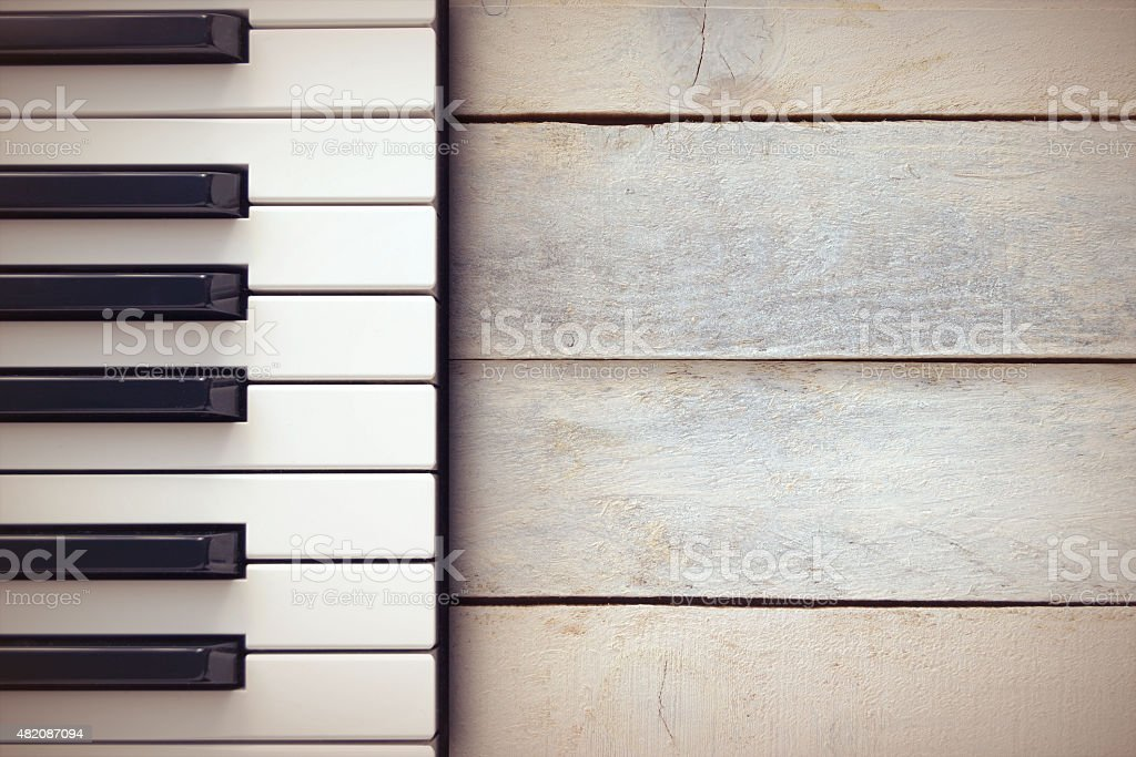 Inspirational background with a piano on a wooden table while composing. stock photo