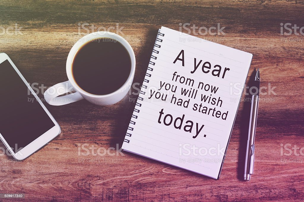 inspirational quotes on note pad stock photo