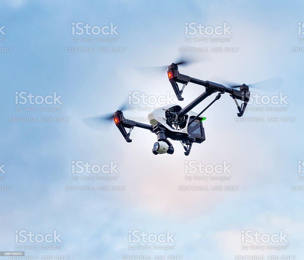 DJI Inspire quadcopter with 4k videocamera in flight stock photo