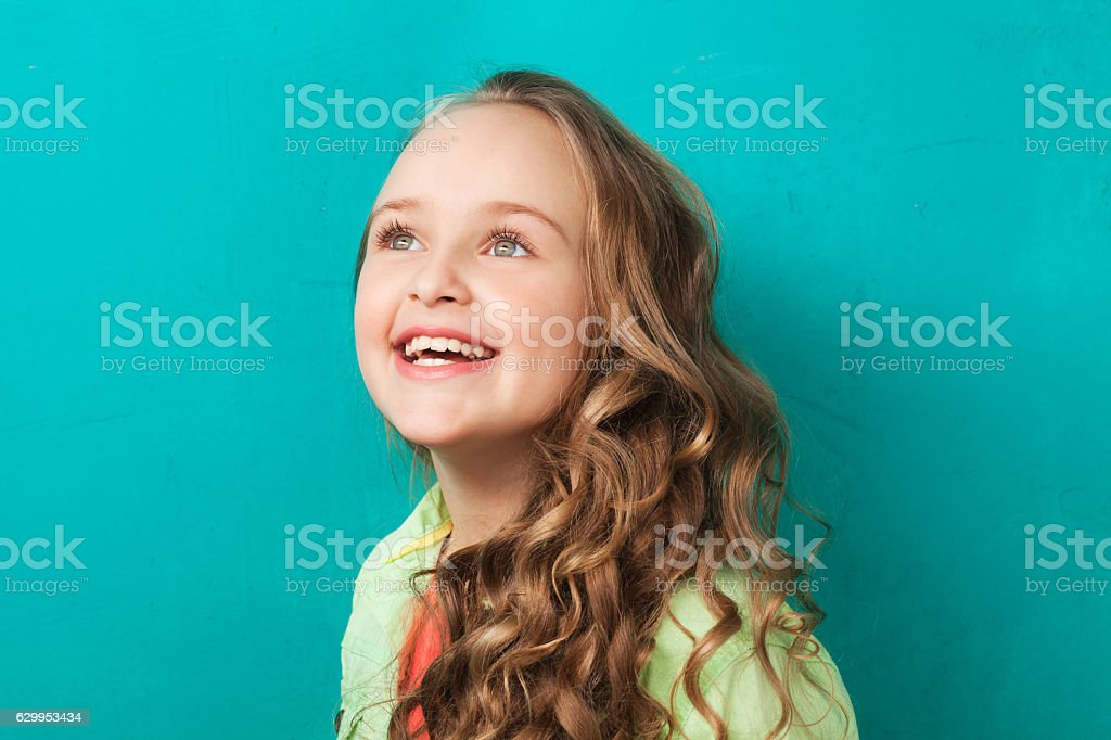 Inspired little lady stock photo