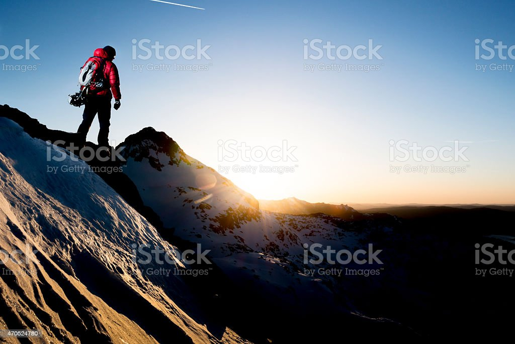 inspired mountain climber stock photo
