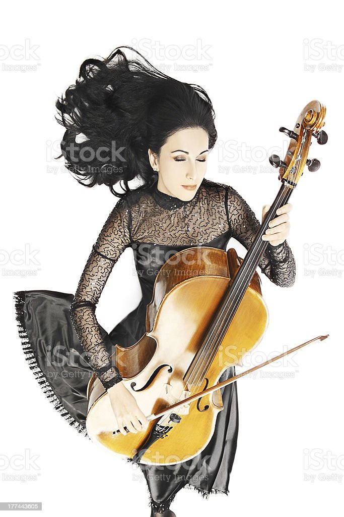 Inspired musician Cello playing stock photo