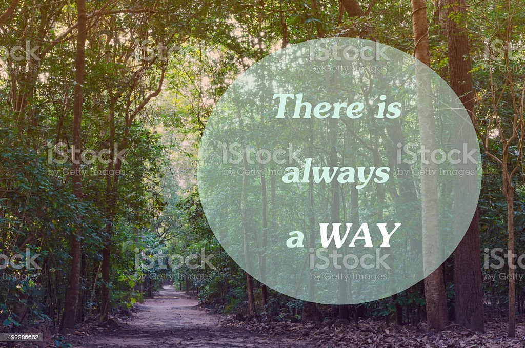 Inspired quotation on tropical green Forest and Footpath stock photo