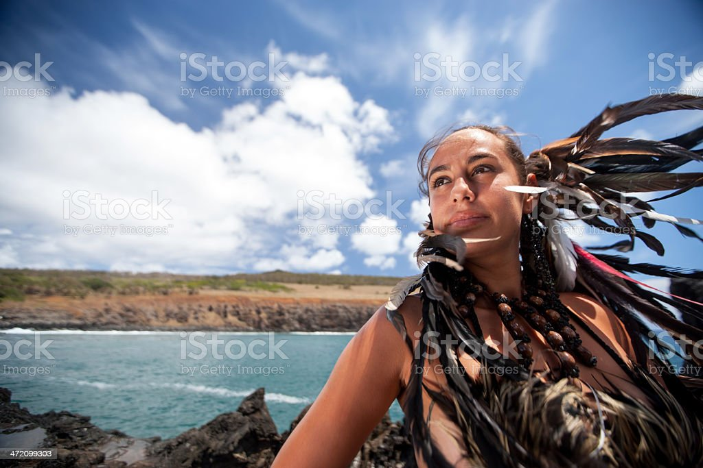 Inspired Rapa Nui Girl stock photo