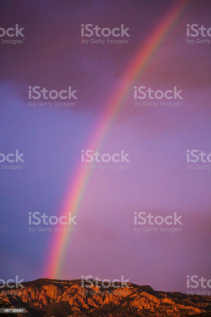 inspiring nature rainbow mountain sunset stock photo