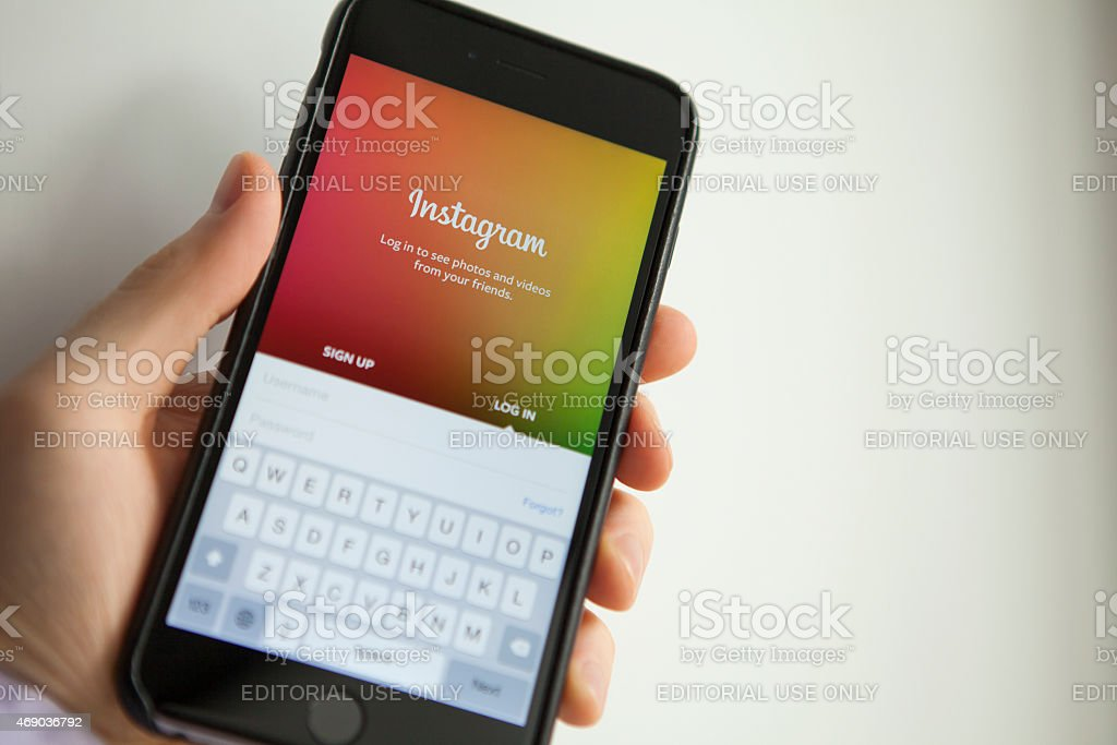 Instagram app on iPhone 6 Plus stock photo