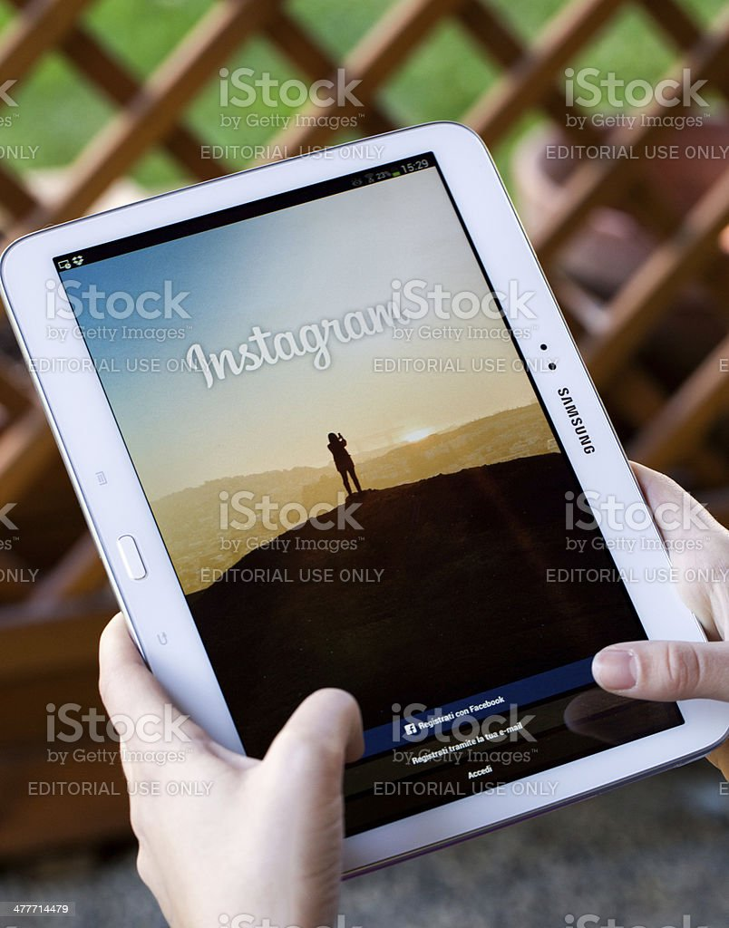 Instagram for Samsung Galaxy Tab 3 royalty-free stock photo