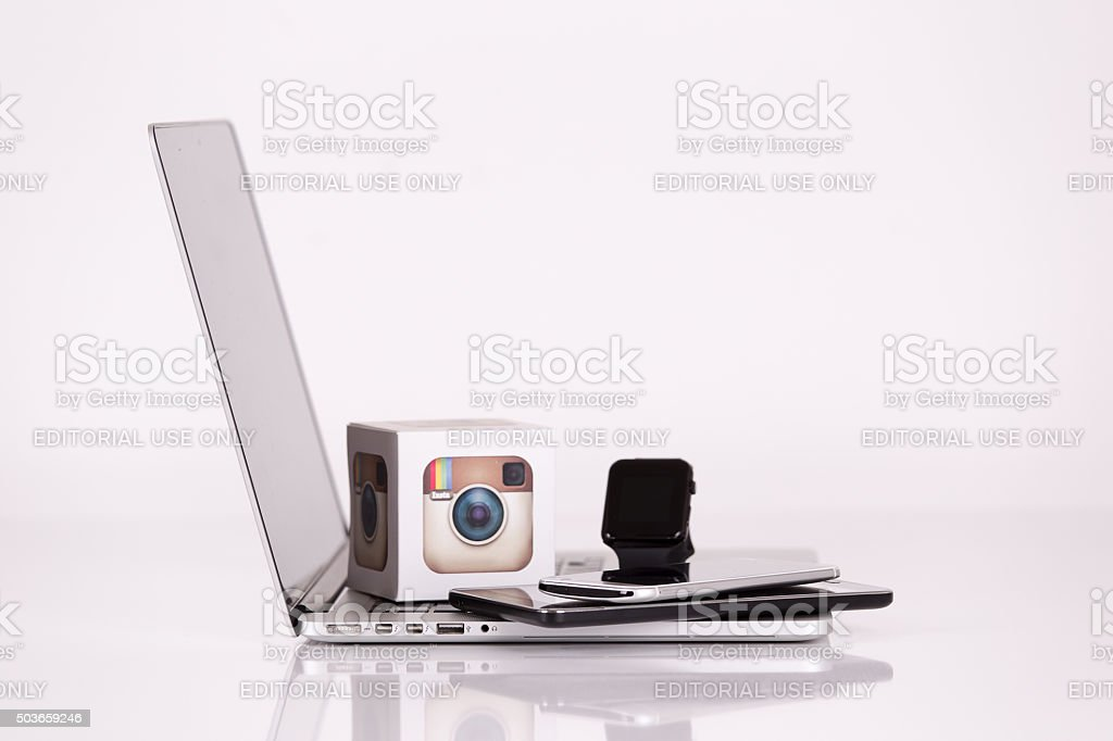 Instagram Logo Cubes with Mobile Devices stock photo