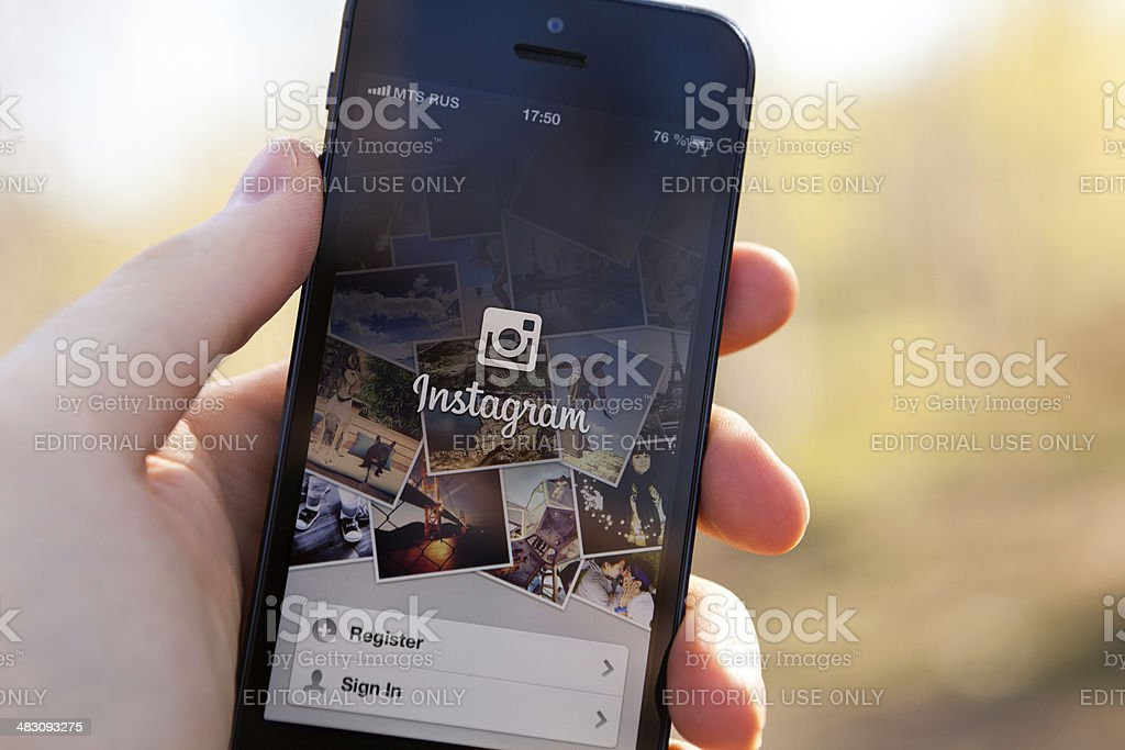Instagram on iPhone 5 stock photo
