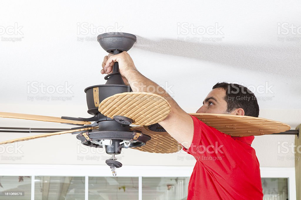 Install Ceiling Fan royalty-free stock photo