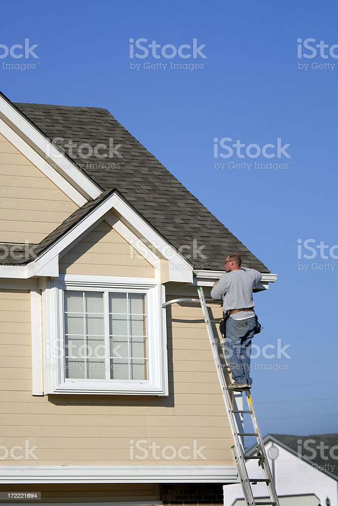 Install Home Guttering stock photo