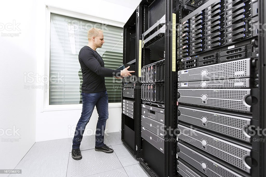 Install Network Router in Datacenter stock photo