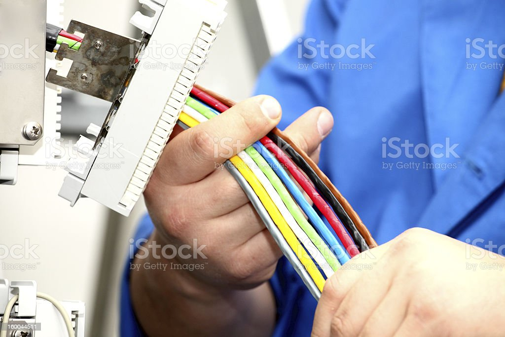 Installation  a cable of communication royalty-free stock photo