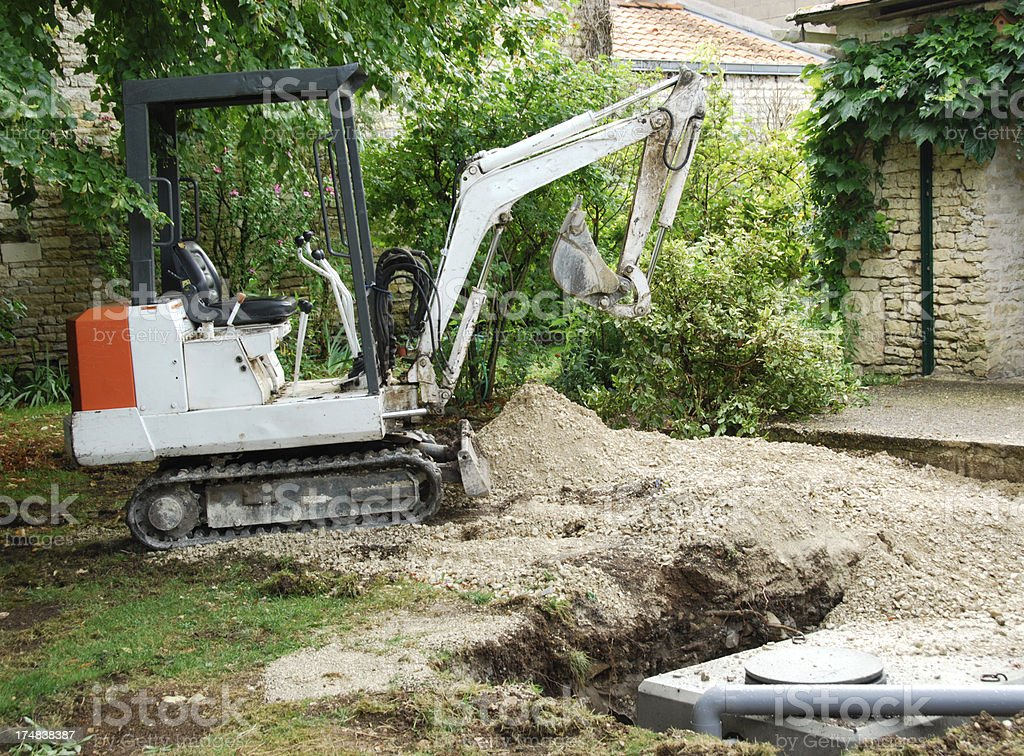Installation of a Concrete Septic Tank stock photo