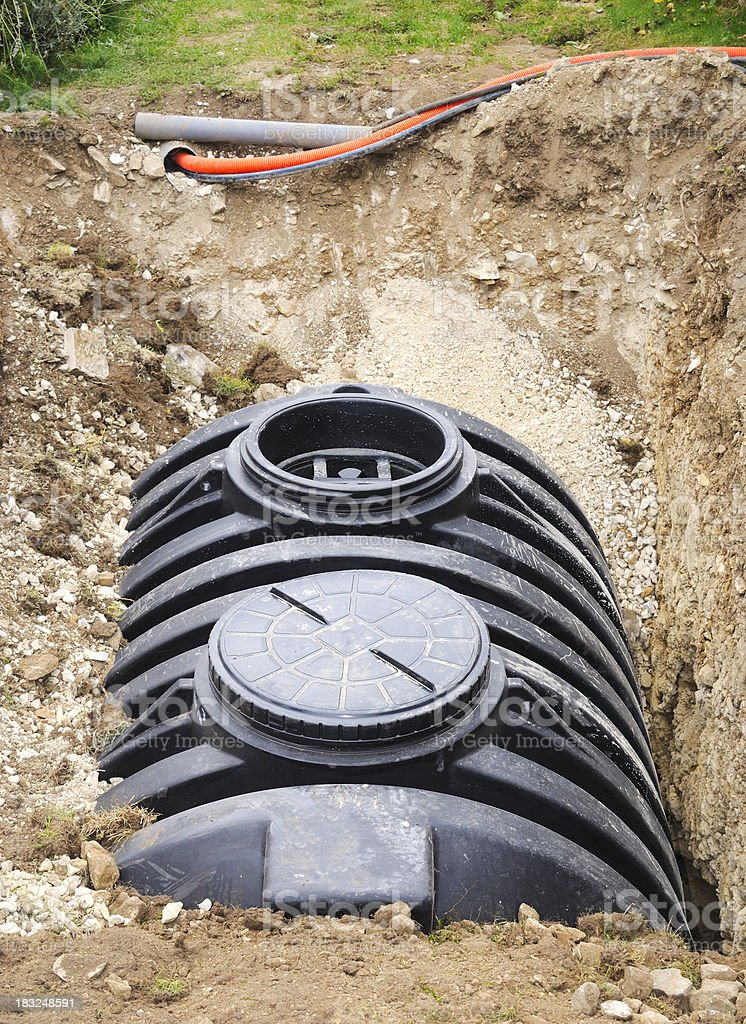 Installation of a Septic Tank stock photo