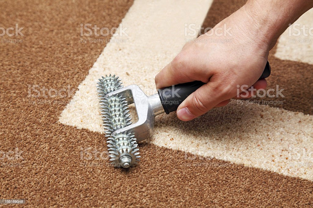 installation of carpet stock photo