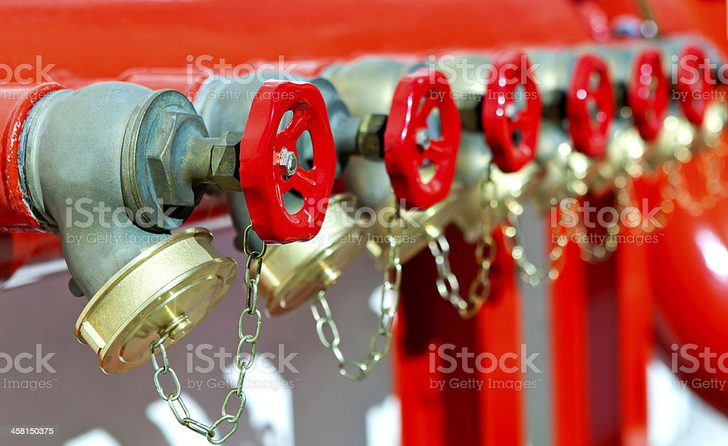 installation of fire safety stock photo