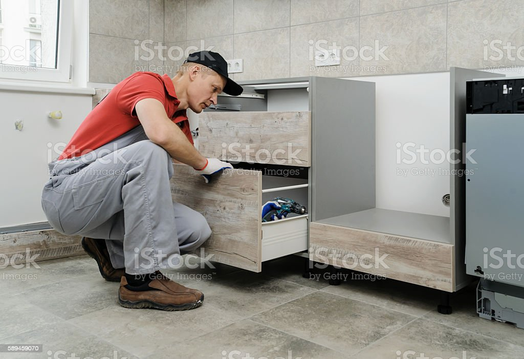 Installation of kitchen. stock photo