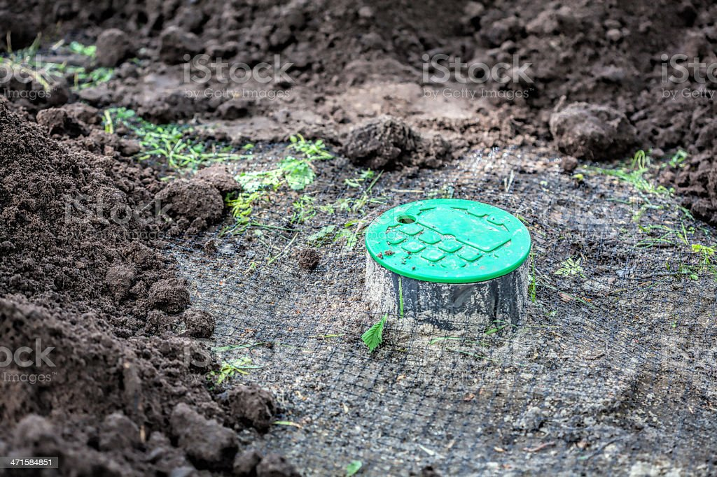 Installation of watering system royalty-free stock photo