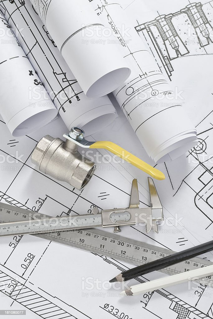 Installation plans royalty-free stock photo