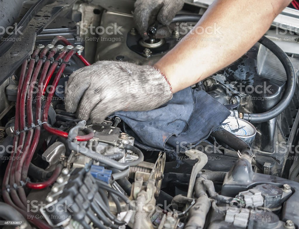 LPG installed car maintenance royalty-free stock photo