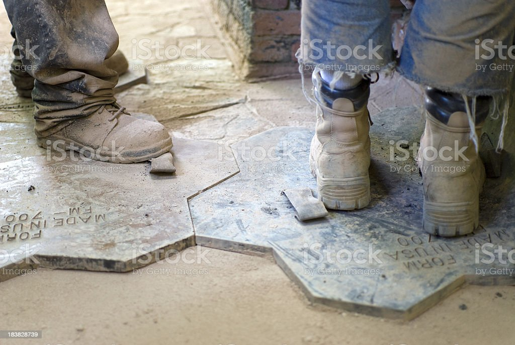 Installing a Stamped Concrete Patio royalty-free stock photo