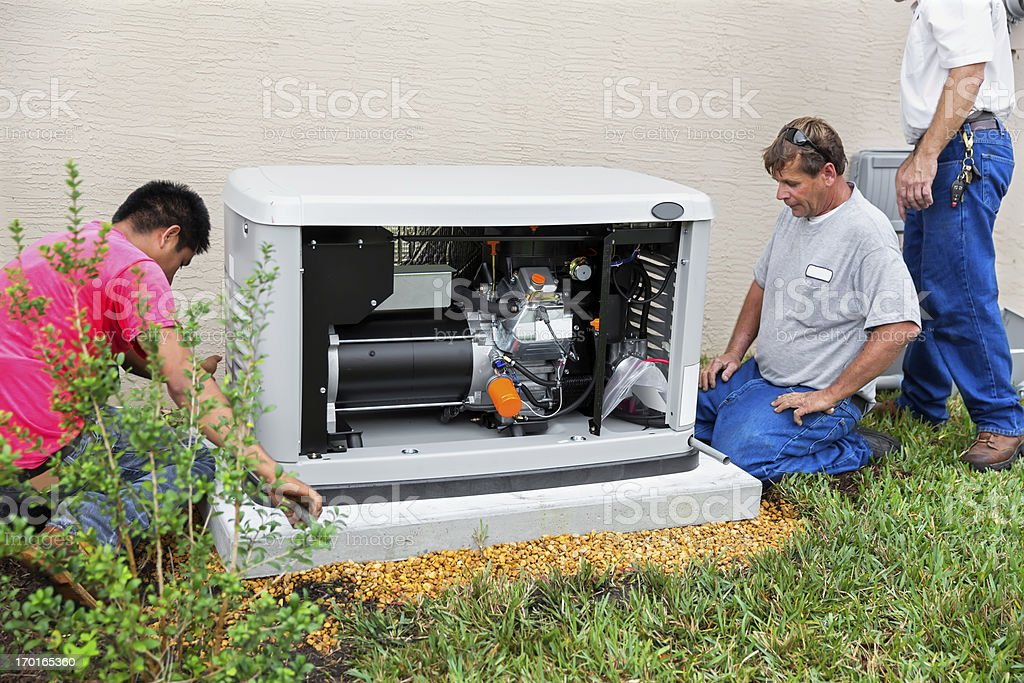 Installing an whole house emergency generator for hurricane season stock photo