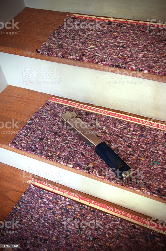 installing carpet padding stock photo
