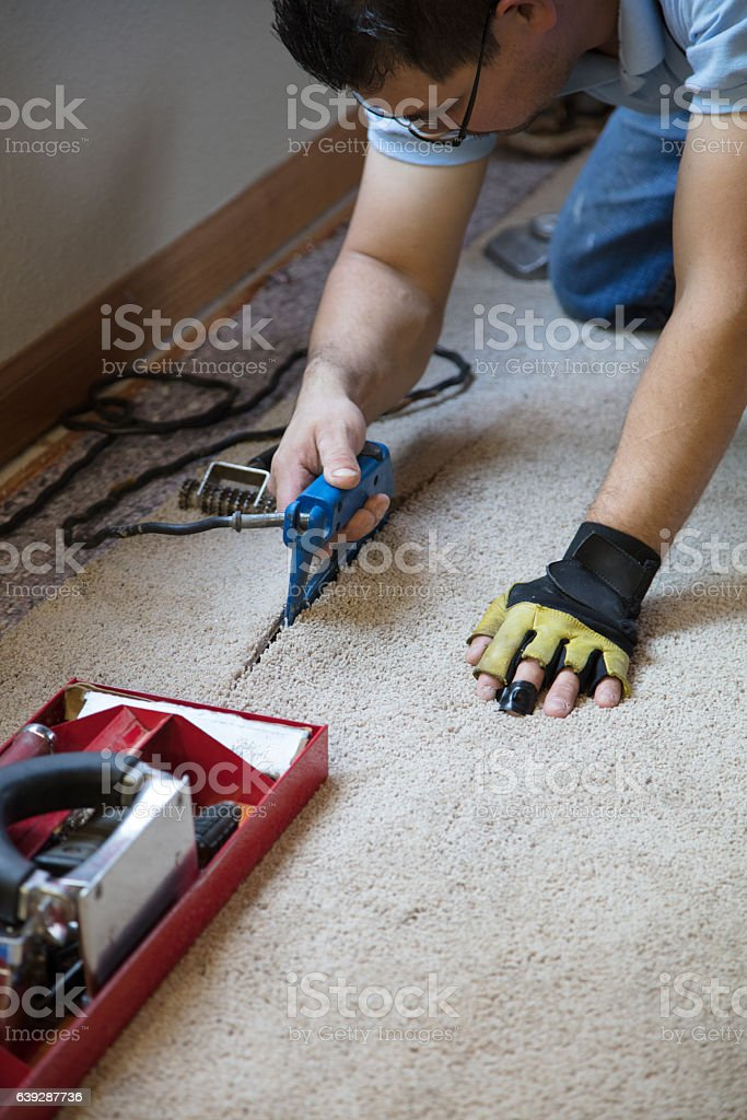 Installing Carpeting - gluing stock photo