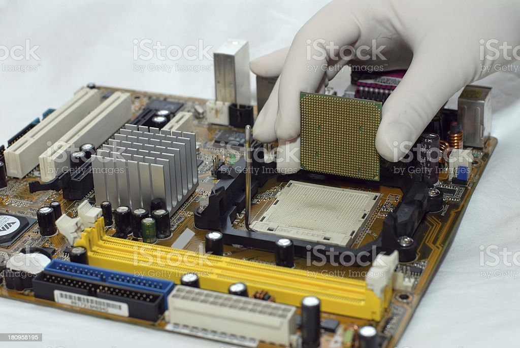 installing Central processor royalty-free stock photo