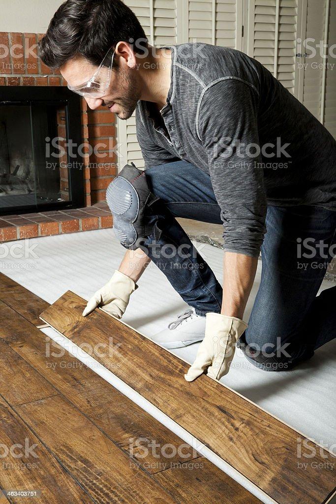 Installing Laminate Wood stock photo